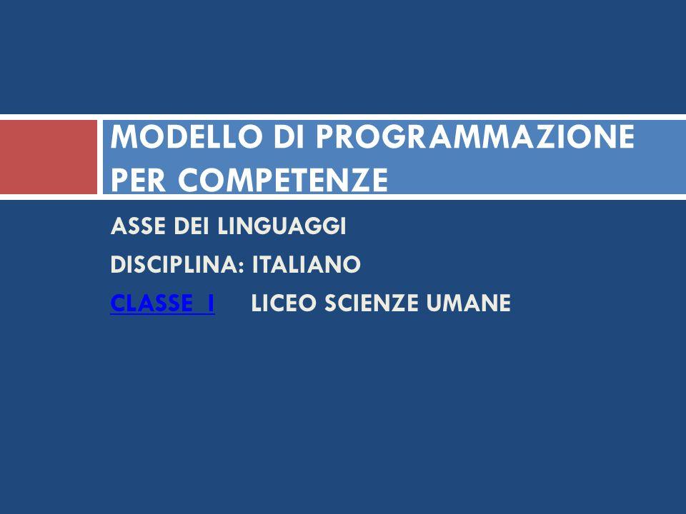 MODELLO DI PROGRAMMAZIONE PER COMPETENZE