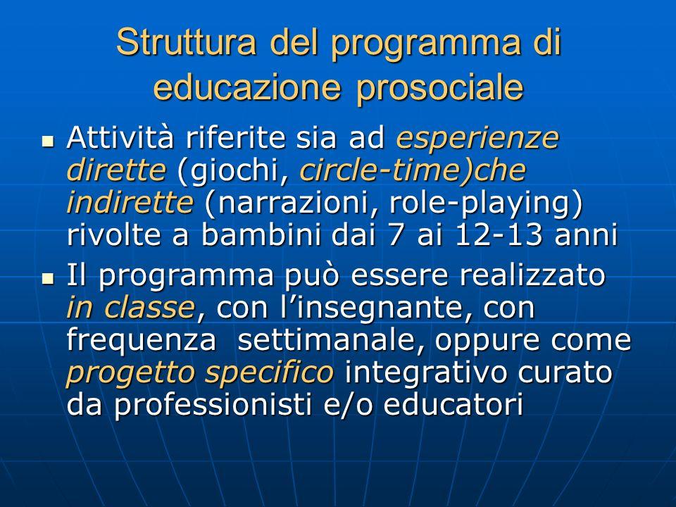 Struttura del programma di educazione prosociale