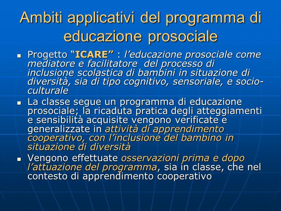 Ambiti applicativi del programma di educazione prosociale