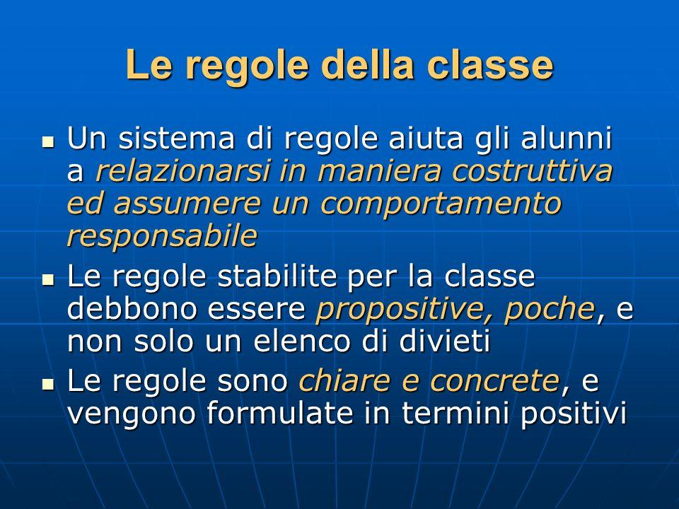 Le regole della classe Un sistema di regole aiuta gli alunni a relazionarsi in maniera costruttiva ed assumere un comportamento responsabile.
