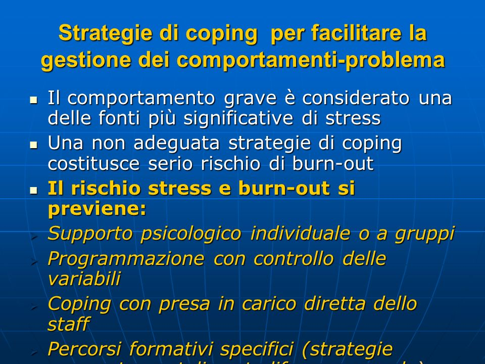 Strategie di coping per facilitare la gestione dei comportamenti-problema