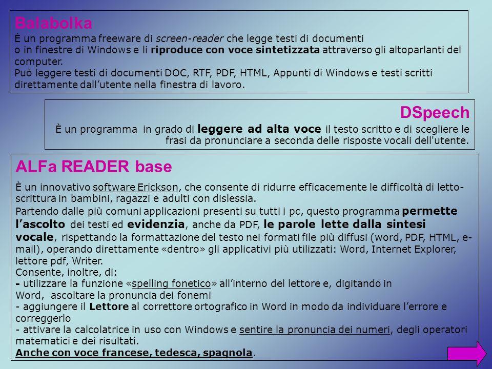 Balabolka DSpeech ALFa READER base