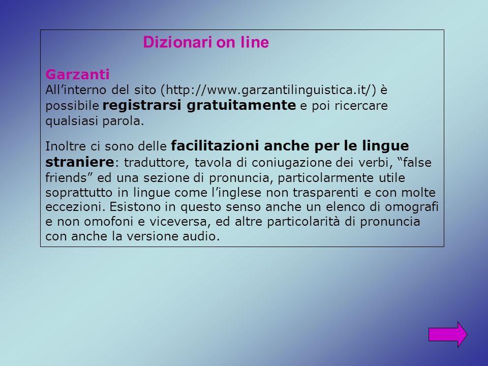 Dizionari on line Garzanti