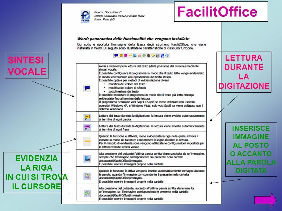 FacilitOffice SINTESI VOCALE LETTURA DURANTE LA DIGITAZIONE EVIDENZIA