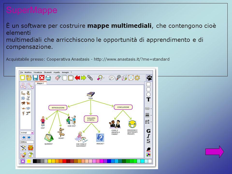 SuperMappe È un software per costruire mappe multimediali, che contengono cioè elementi.