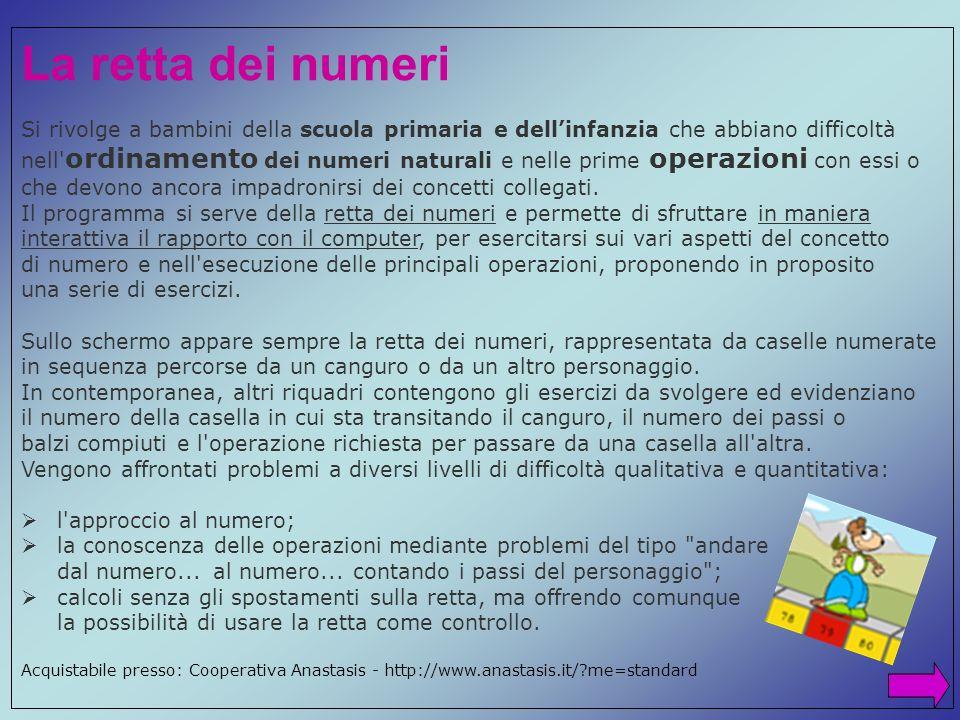 La retta dei numeri Si rivolge a bambini della scuola primaria e dell'infanzia che abbiano difficoltà.