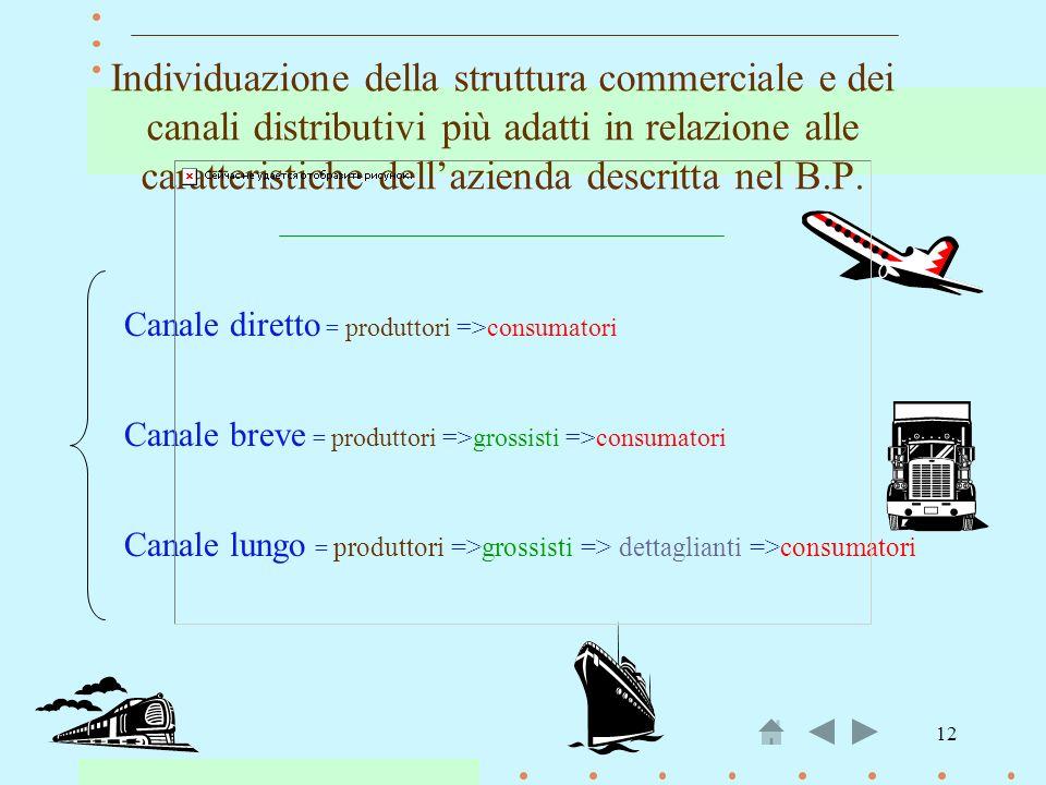 Individuazione della struttura commerciale e dei canali distributivi più adatti in relazione alle caratteristiche dell'azienda descritta nel B.P.