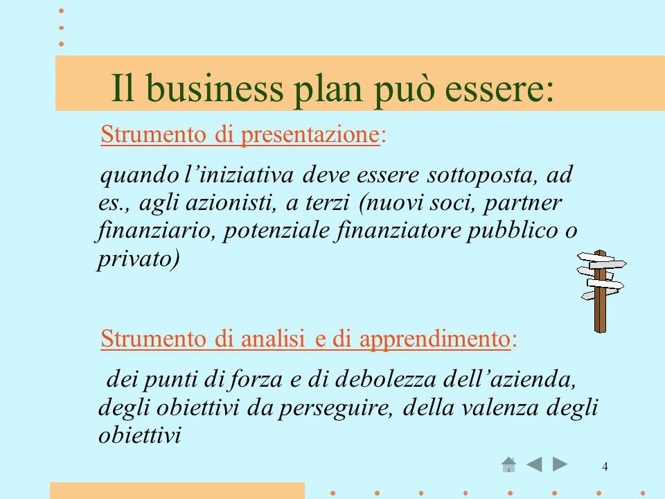 Il business plan può essere: