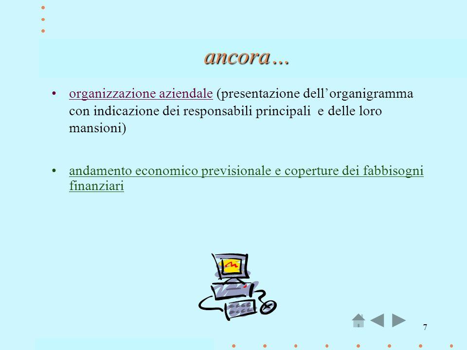 ancora… organizzazione aziendale (presentazione dell'organigramma con indicazione dei responsabili principali e delle loro mansioni)