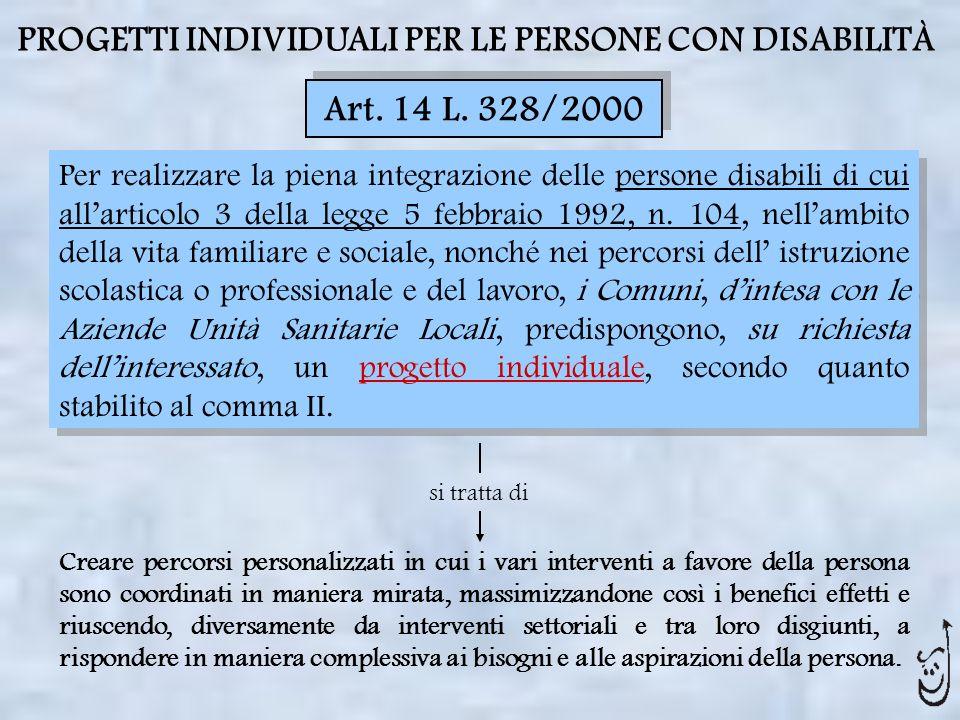 PROGETTI INDIVIDUALI PER LE PERSONE CON DISABILITÀ
