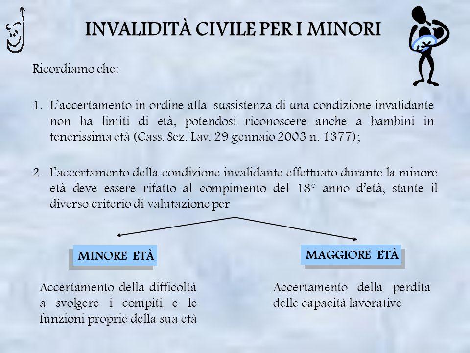 INVALIDITÀ CIVILE PER I MINORI