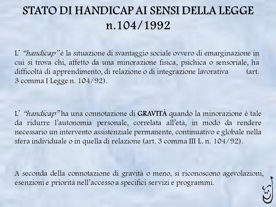STATO DI HANDICAP AI SENSI DELLA LEGGE n.104/1992