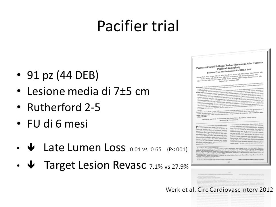 Pacifier trial 91 pz (44 DEB) Lesione media di 7±5 cm Rutherford 2-5