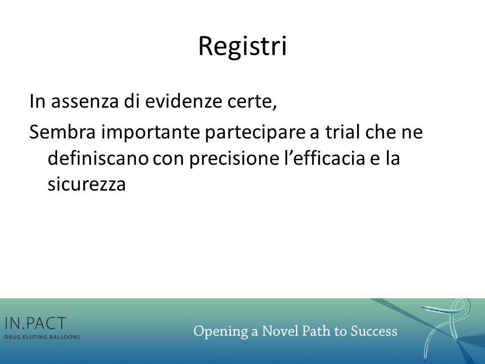 Registri In assenza di evidenze certe, Sembra importante partecipare a trial che ne definiscano con precisione l'efficacia e la sicurezza