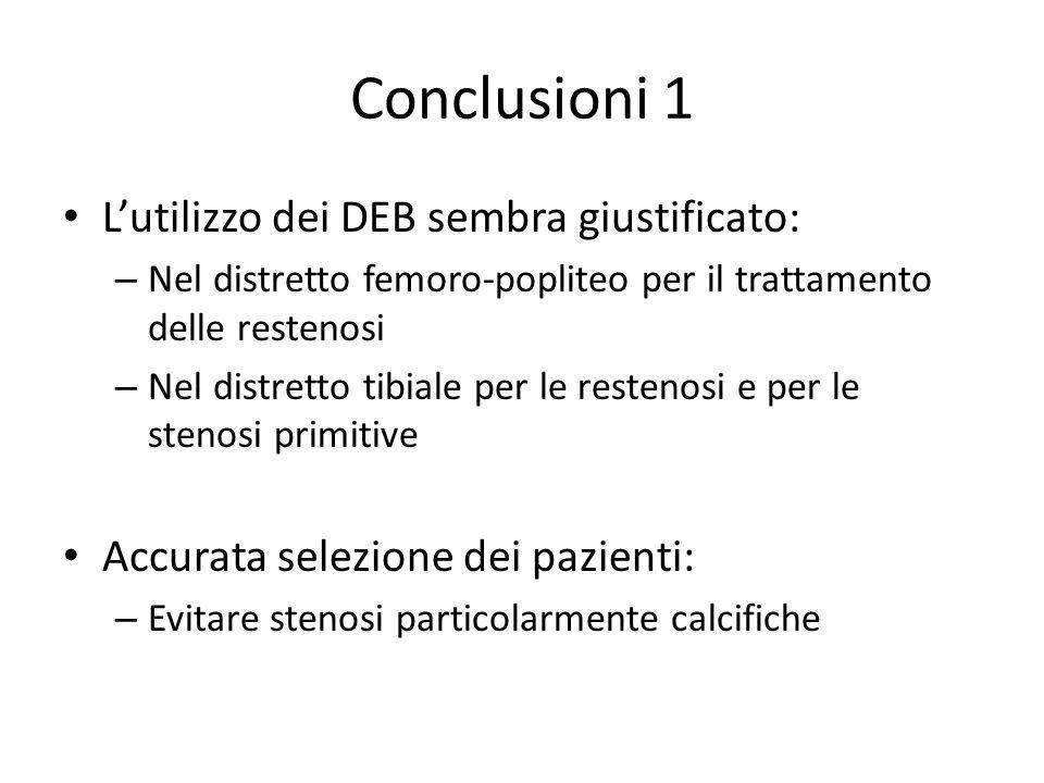 Conclusioni 1 L'utilizzo dei DEB sembra giustificato: