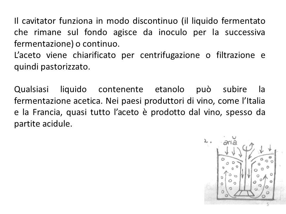 Il cavitator funziona in modo discontinuo (il liquido fermentato che rimane sul fondo agisce da inoculo per la successiva fermentazione) o continuo.