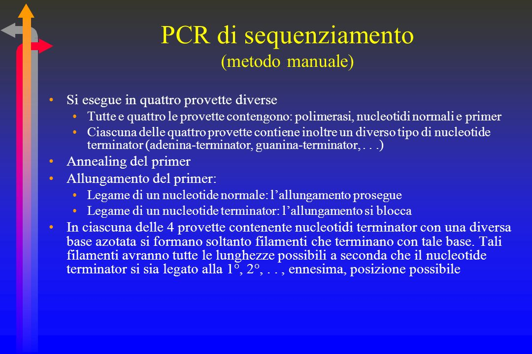 PCR di sequenziamento (metodo manuale)