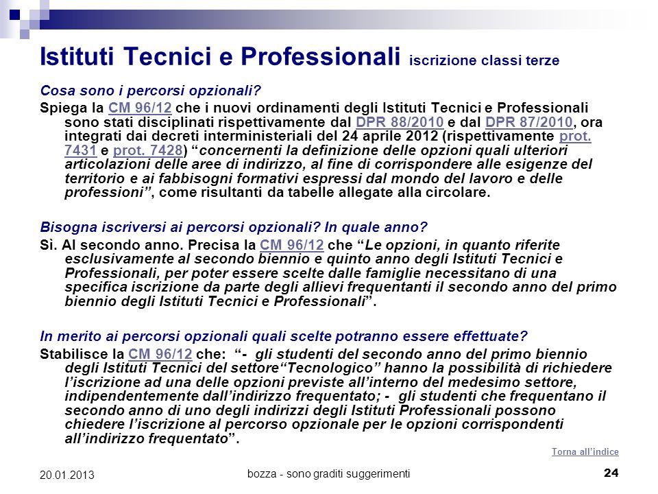 Istituti Tecnici e Professionali iscrizione classi terze