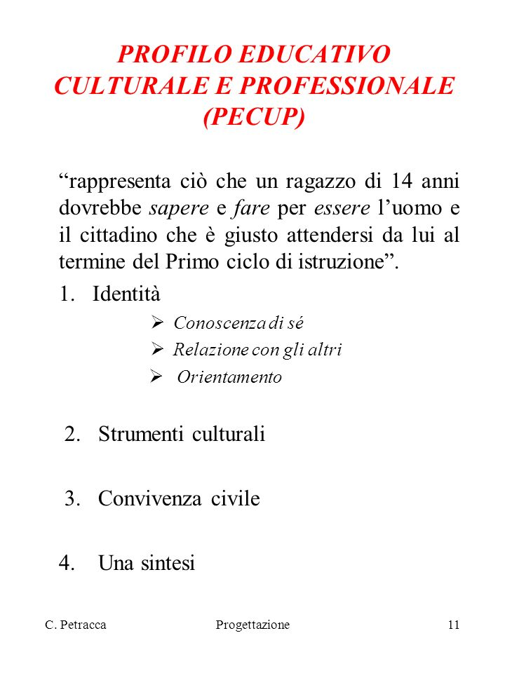 PROFILO EDUCATIVO CULTURALE E PROFESSIONALE (PECUP)