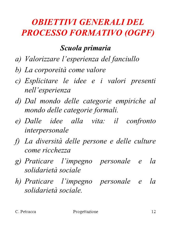 OBIETTIVI GENERALI DEL PROCESSO FORMATIVO (OGPF)