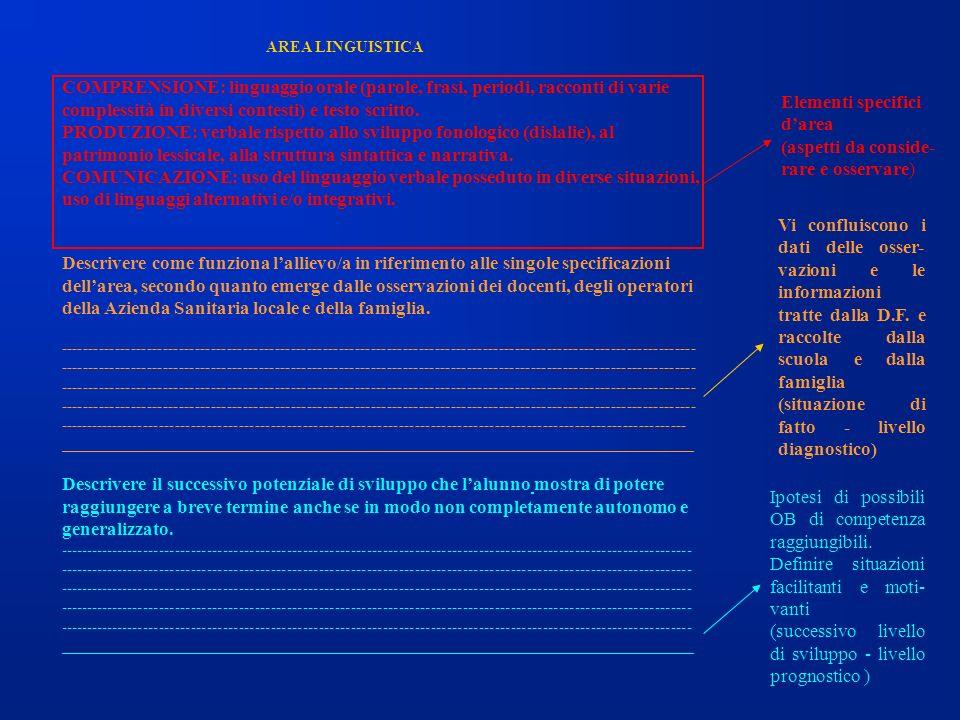 Elementi specifici d'area (aspetti da conside- rare e osservare)