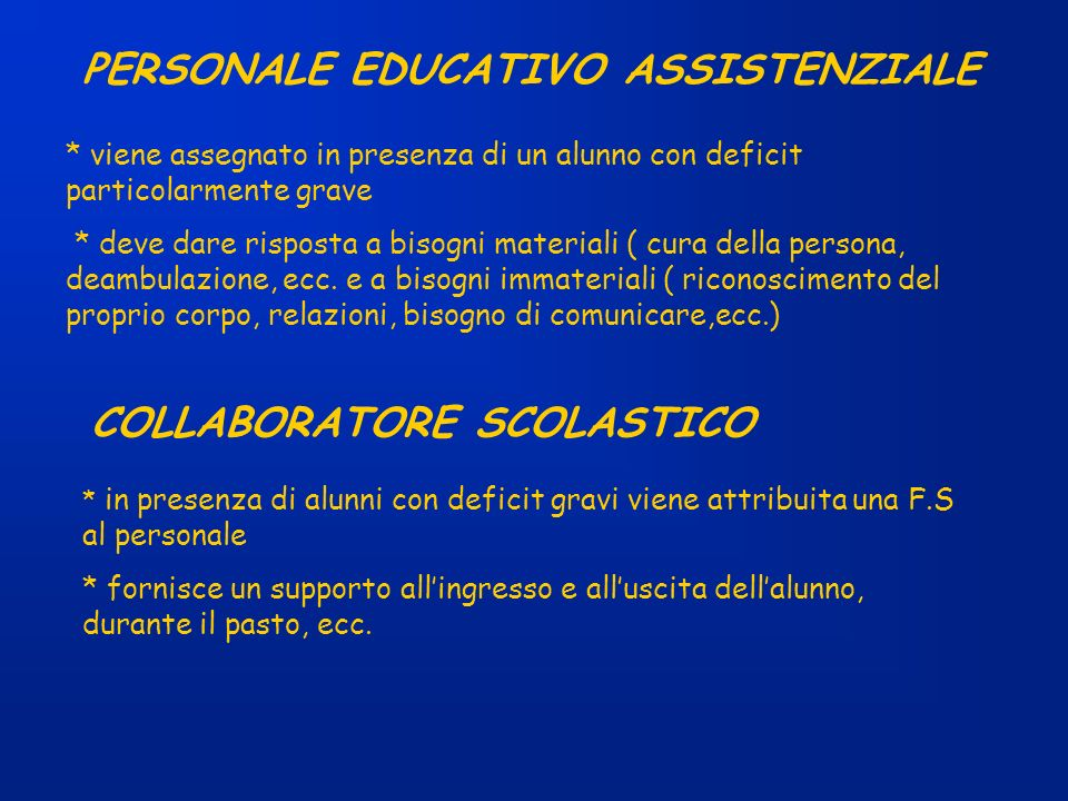 PERSONALE EDUCATIVO ASSISTENZIALE