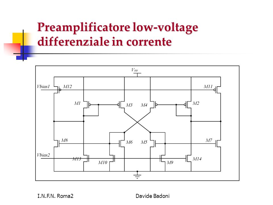 Preamplificatore low-voltage differenziale in corrente