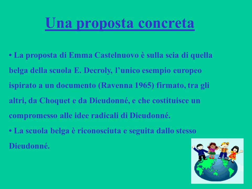 Una proposta concreta • La proposta di Emma Castelnuovo è sulla scia di quella. belga della scuola E. Decroly, l'unico esempio europeo.