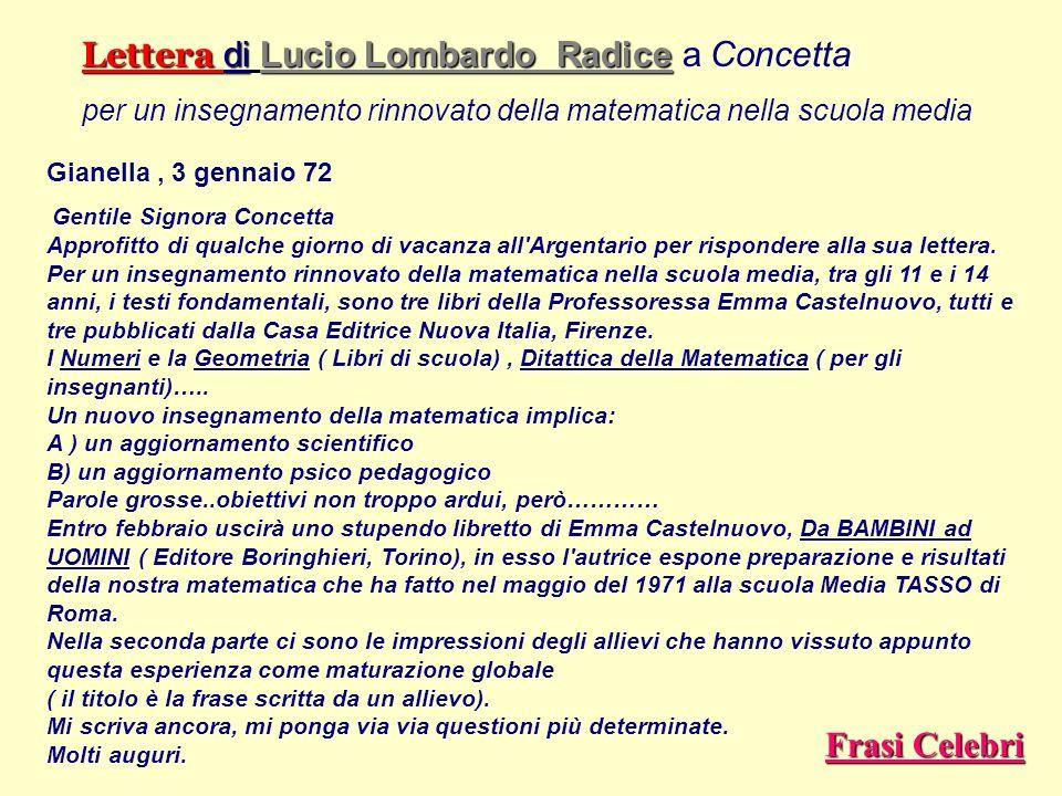 Lettera di Lucio Lombardo Radice a Concetta