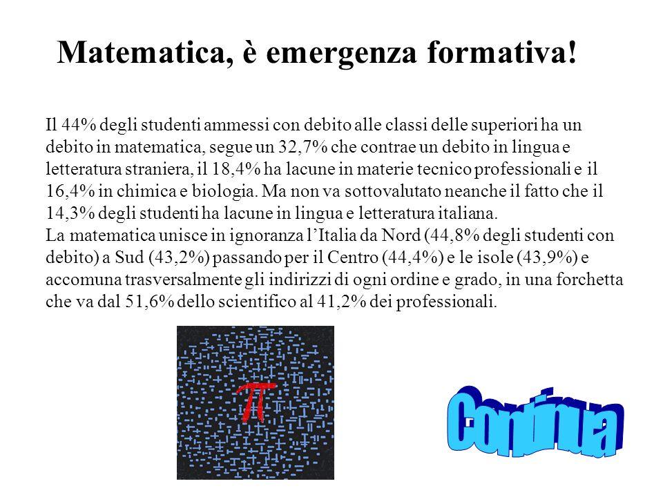 Matematica, è emergenza formativa!
