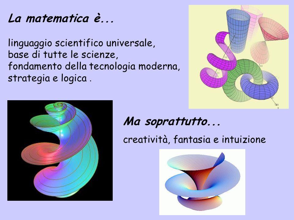 La matematica è... linguaggio scientifico universale, base di tutte le scienze, fondamento della tecnologia moderna, strategia e logica .