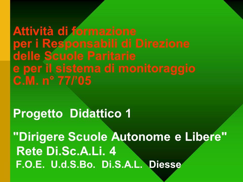 Attività di formazione per i Responsabili di Direzione delle Scuole Paritarie e per il sistema di monitoraggio C.M. n° 77/'05