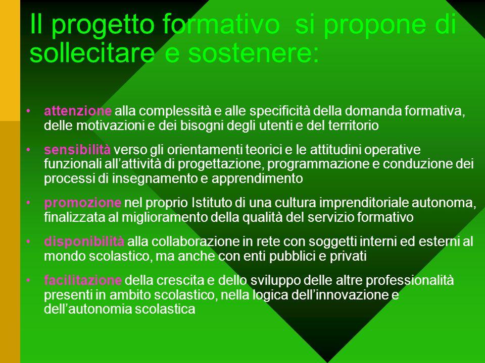 Il progetto formativo si propone di sollecitare e sostenere: