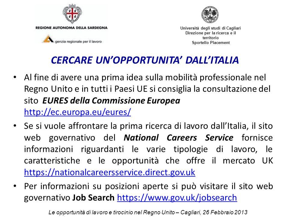 CERCARE UN'OPPORTUNITA' DALL'ITALIA