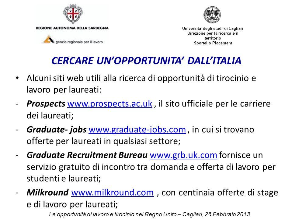 Le opportunit di lavoro e tirocinio nel regno unito ppt for Assistente alla poltrona offerte di lavoro
