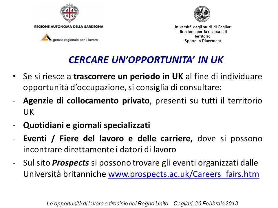 CERCARE UN'OPPORTUNITA' IN UK