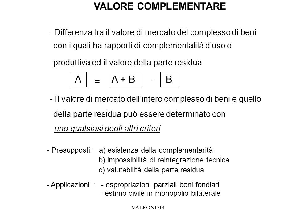 VALORE COMPLEMENTARE A = A + B - B