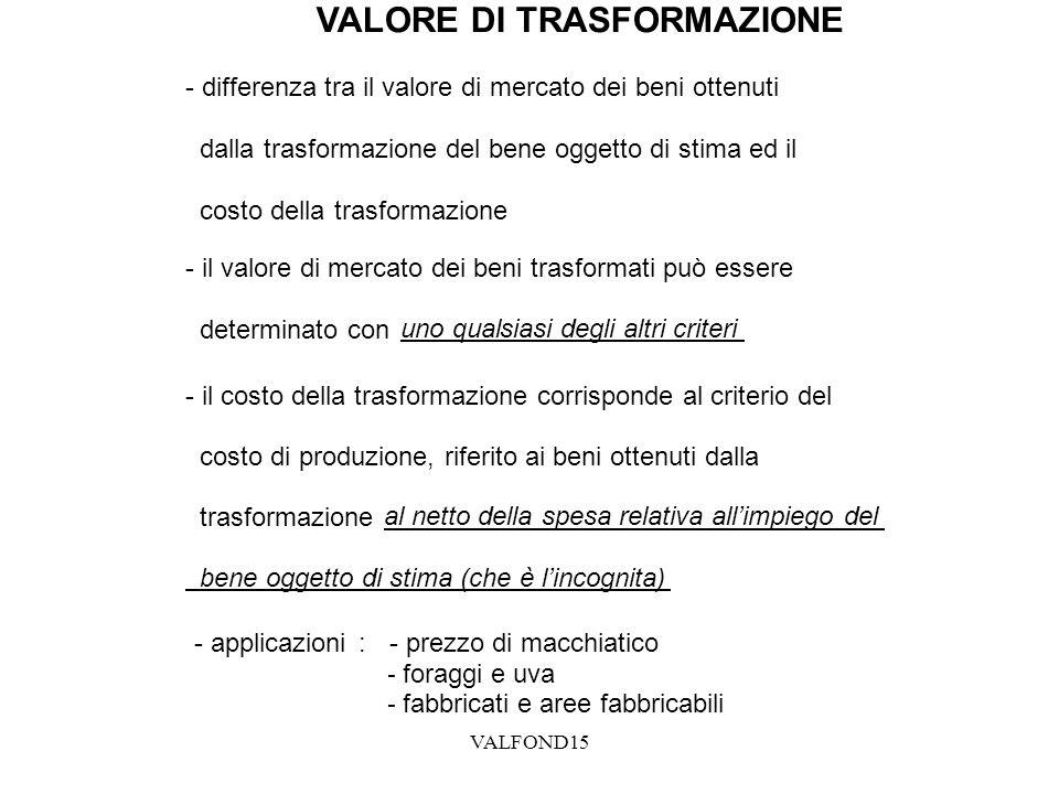VALORE DI TRASFORMAZIONE