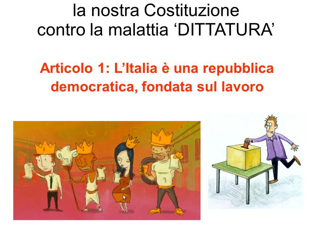 Articolo 1: L'Italia è una repubblica democratica, fondata sul lavoro