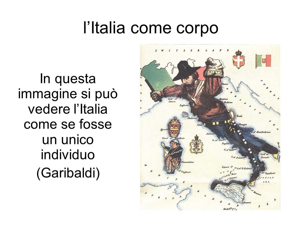 l'Italia come corpo In questa immagine si può vedere l'Italia come se fosse un unico individuo.