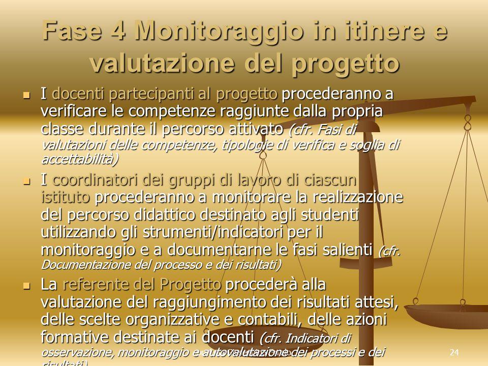 Fase 4 Monitoraggio in itinere e valutazione del progetto