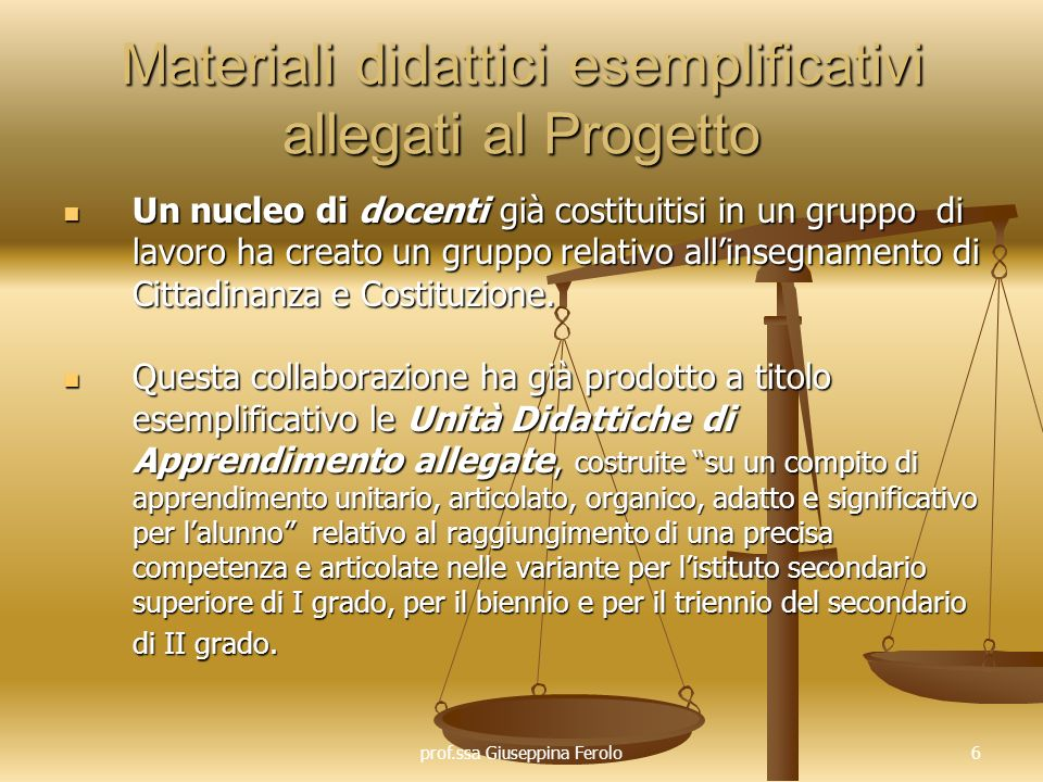 Materiali didattici esemplificativi allegati al Progetto
