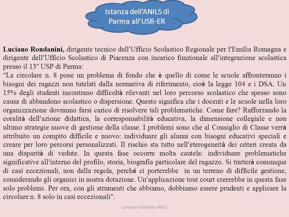 Istanza dell'ANILS di Parma all'USR-ER