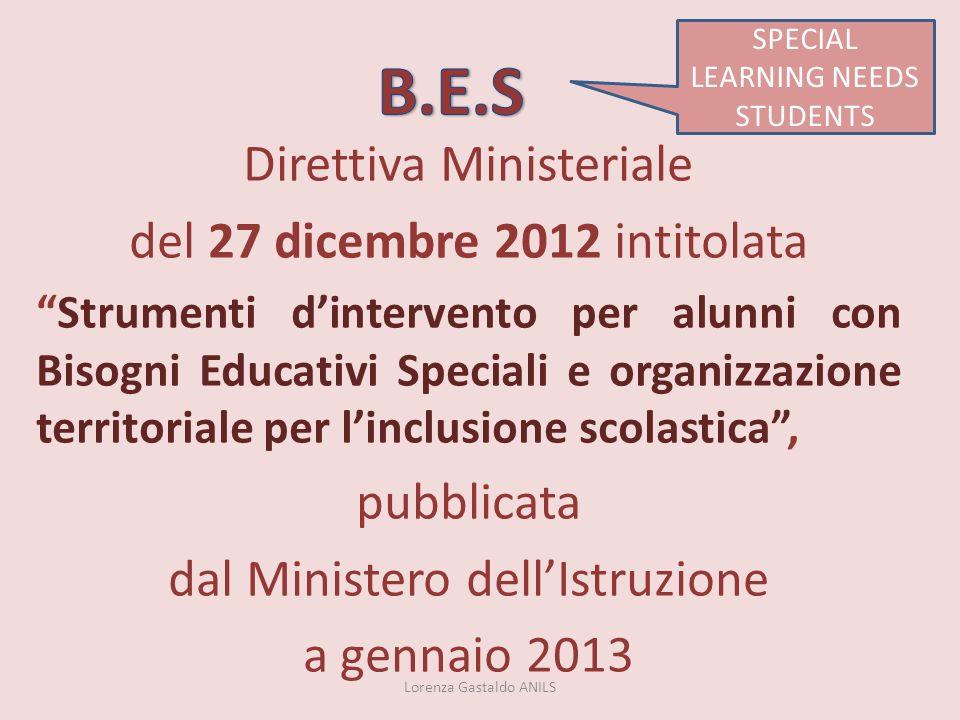 B.E.S Direttiva Ministeriale del 27 dicembre 2012 intitolata