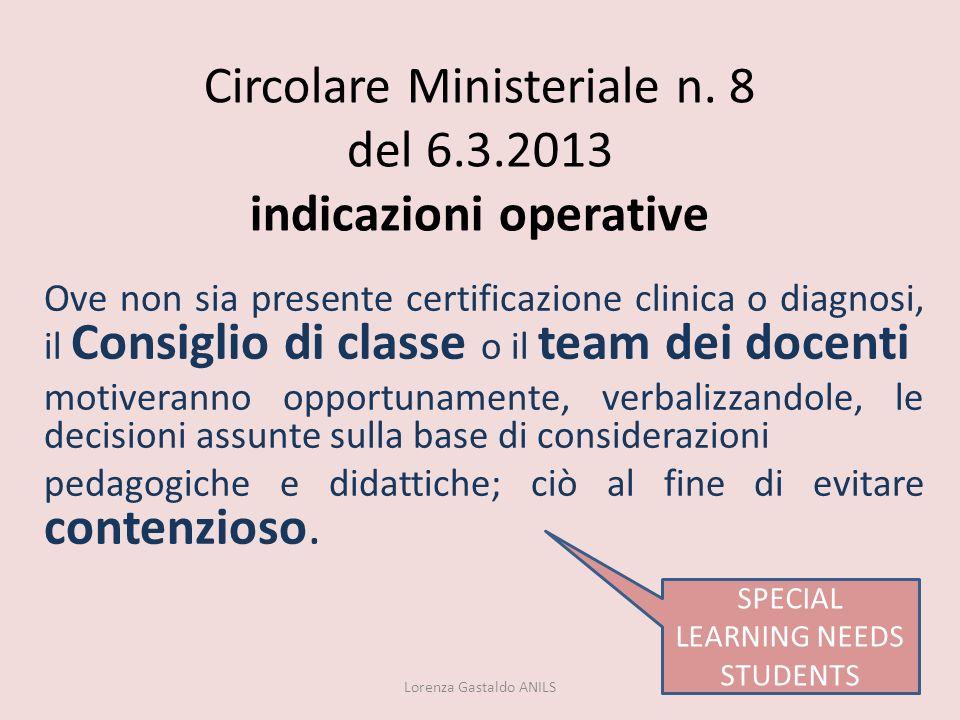 Circolare Ministeriale n. 8 del 6.3.2013 indicazioni operative