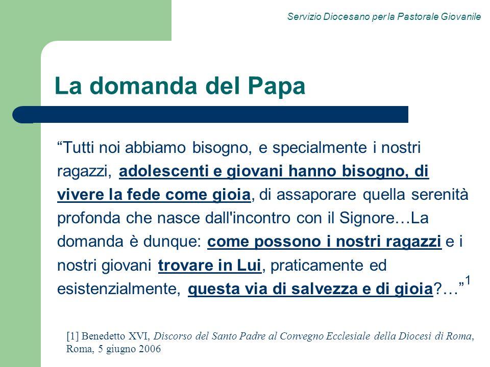 La domanda del Papa Tutti noi abbiamo bisogno, e specialmente i nostri. ragazzi, adolescenti e giovani hanno bisogno, di.