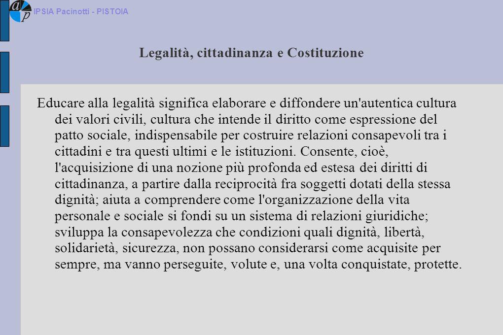 Legalità, cittadinanza e Costituzione