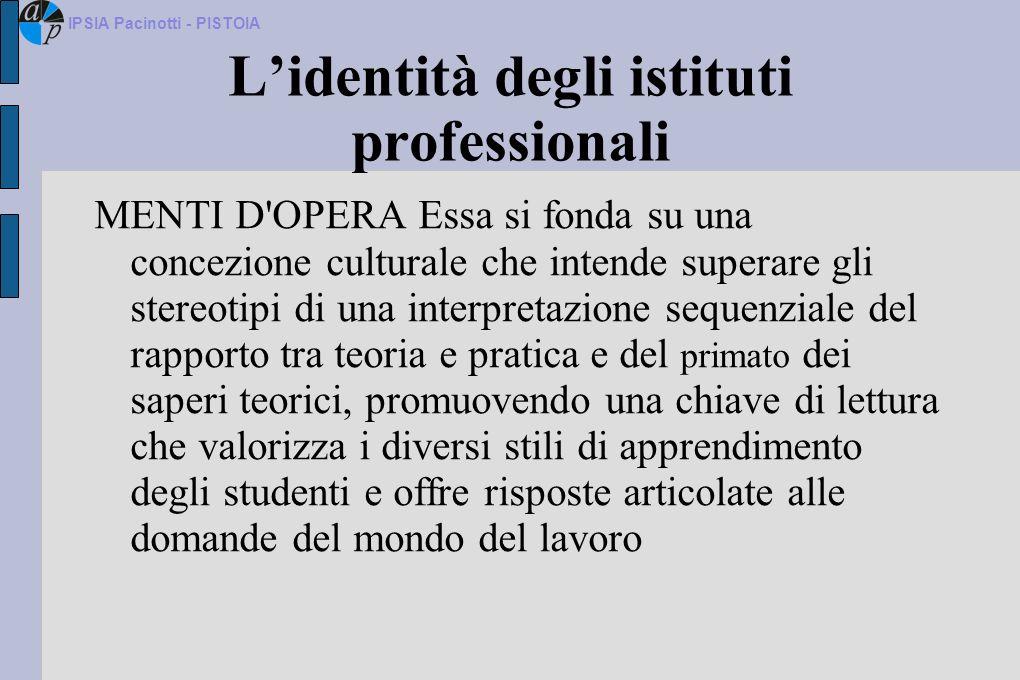 L'identità degli istituti professionali
