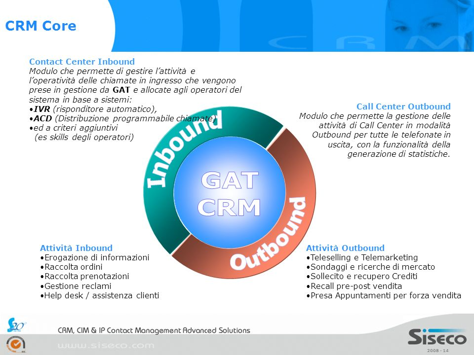 GAT CRM Outbound Inbound CRM Core Contact Center Inbound