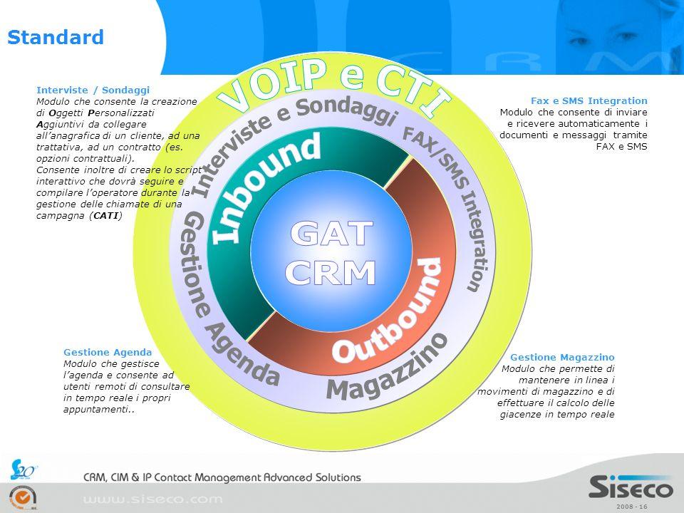 Interviste e Sondaggi Gestione Agenda GAT CRM Outbound Magazzino